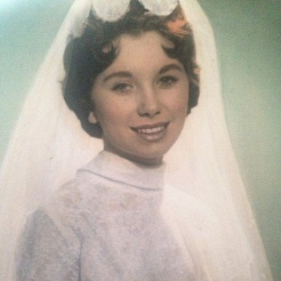 Kacey Barnfield's pretty grandmother wearing a wedding dress.