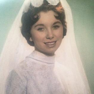 Kacey Barnfield's pretty grandmother wearing a wedding dress.