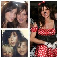Model Karen Clarke in three separate family snaps.