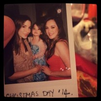 Kacey Barnfield with her friend and her child.