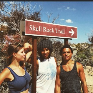 Three people at Skull Rock Trail.