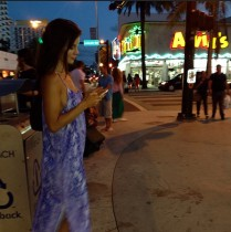 Kacey Barnfield looking hot in a blue dress.