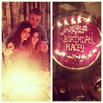 Kacey Barnfield celebrating her birthday with her siblings.