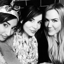 Black and white photo of three girl friends.