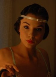 Kacey Barnfield looking pretty in a 1920s style outfit.