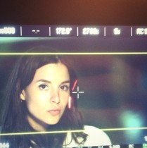 View of actress through a monitor.