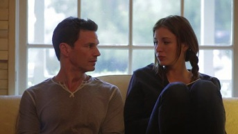 Actress Kacey Barnfield sat next to actor Michael Worth.