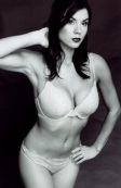 Black and white photo of Kacey Clarke in white underwear