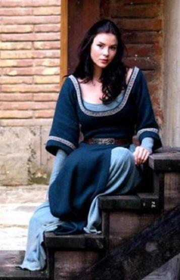 Actress Kacey Barnfield in medieval dress.