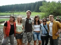 Cast group photo on location.