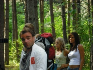 A few of the cast in the woods.