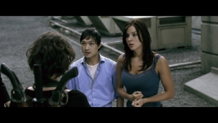 Actress Kacey Clarke talking to Milla Jovovich