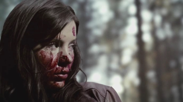 Actress Kacey Clarke with blood all over her face.