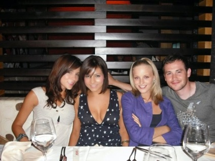 Kacey Barnfield, Roxanne Pallett and Angelica Penn at a table with some guy.