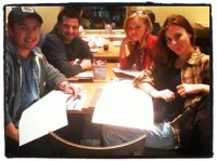 Script read through at a table.