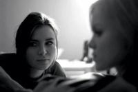 Black and white shot of Kacey Barnfield and Anya Monzikova.