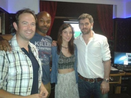 Kacey Barnfield with a trio of colleagues.