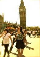 hot girl in front of Big Ben in London.