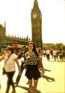 hot girl in front of Big Ben in London.