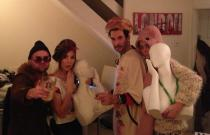 Friends at fancy dress party.