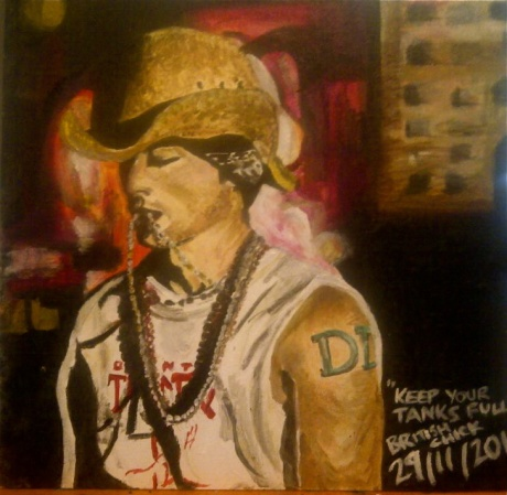 Painting of tattooed guy wearing cowboy hat and wearing a short sleeved shirt.