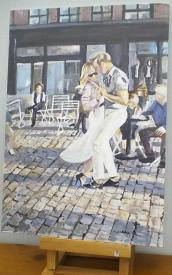 Painting of a man and a woman dancing on cobblestones, probably in Camden, London.