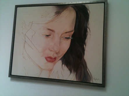 Painting of actress that hangs at Harley Street natural beauty clinic.