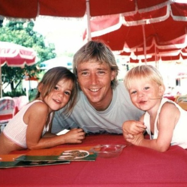 Kacey Barnfield as a child with her father and brother.