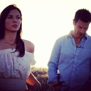 Kacey Barnfield and Michael Worth shooting Enchanting the Mortals film.