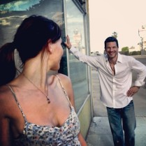 Kacey Barnfield and Michael Worth shooting Enchanting the Mortals film.