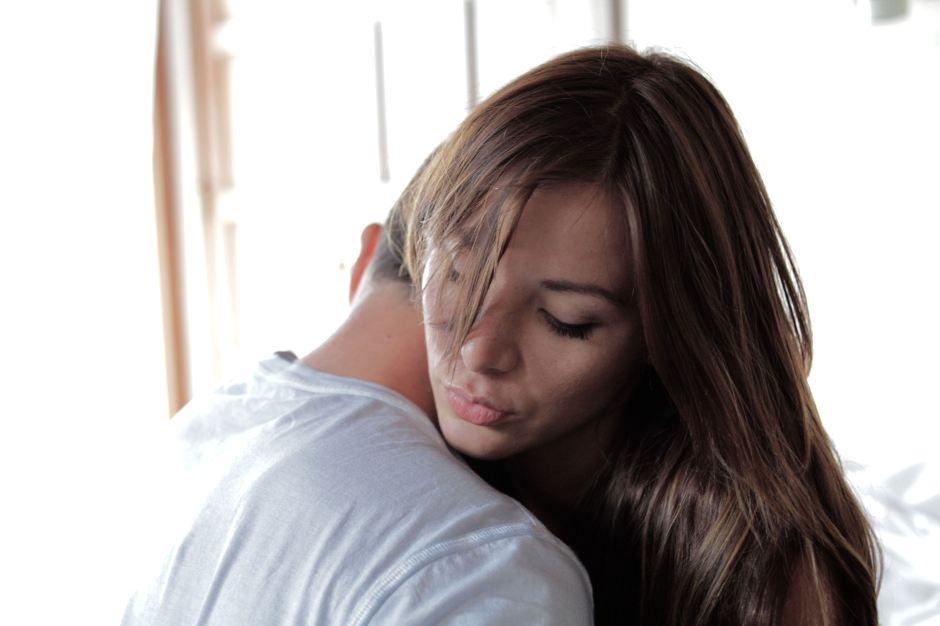 Michael Worth hugging Kacey Barnfield on the set of Enchanting the Mortals.