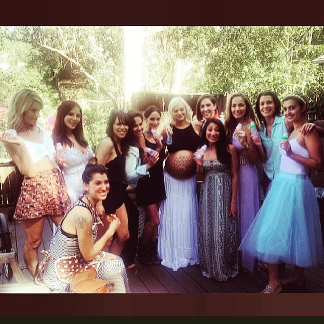 Kacey Barnfield with her friends at a baby shower.