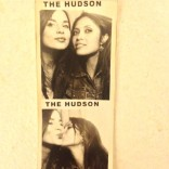 Kacey Barnfield with her pretty friend in a photo booth.