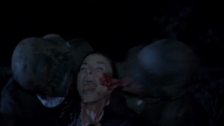 Kacey Barnfield being eaten by zombies