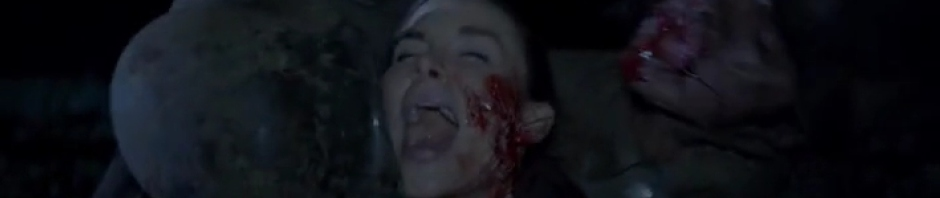 Kacey Barnfield being eaten by World War 1 zombies