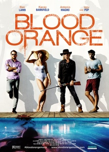 Ben Lamb, Kacey Barnfield, Iggy Pop, and Antonio Magro in poster for the movie Blood Orange.
