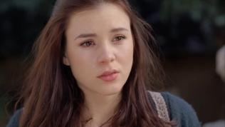 Kacey Barnfield crying close-up
