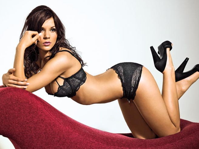 Kacey Barnfield looking sexy in black underwear and a pair of high heels