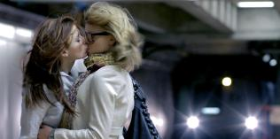 Kacey Barnfield and Anya Monzikova lesbian kiss at train station