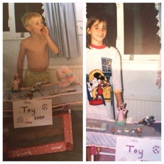 Actress Kacey Barnfield and her brother as kids