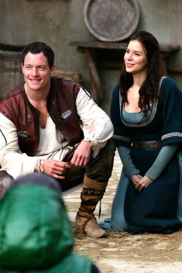 Kacey Barnfield and Tahmoh Penikett on the set of Jabberwock