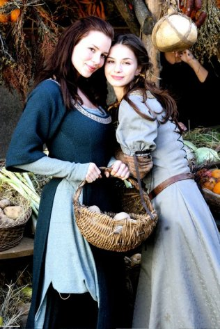 Actresses Kacey Barnfield and Violeta Markovska during the film shoot for Jabberwock