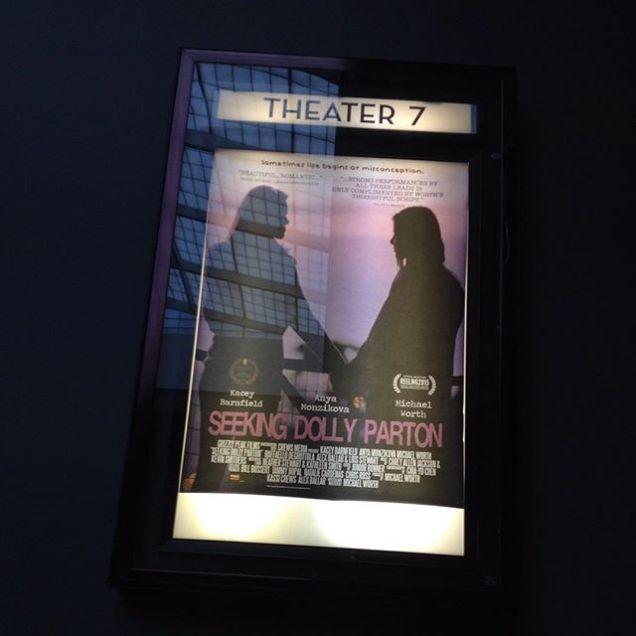 Seeking Dolly Parton poster outside a cinema