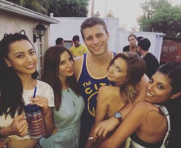 Kacey Barnfield celebrating at a friend's party in Los Angeles