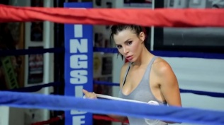Kacey Barnfield looking sexy through the ropes of a boxing ring