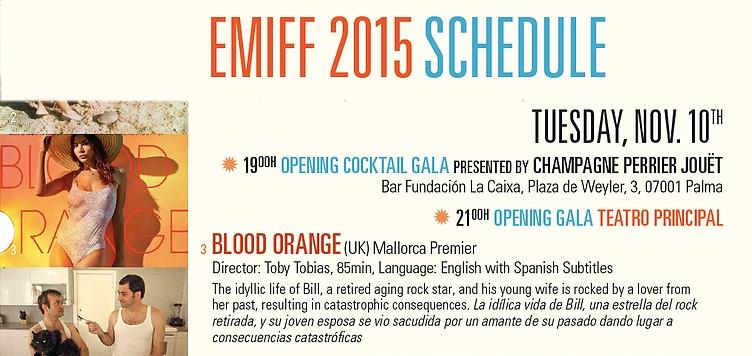 Blood Orange film in the Evolution Mallorca Insternational Film Festival program
