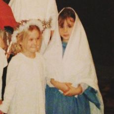 Kacey Barnfield as a youngster in a school play