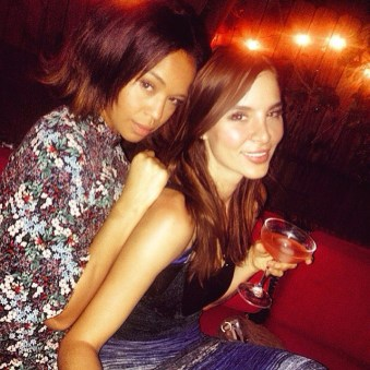 Kacey Barnfield with Sarah-Jane Crawford behind her