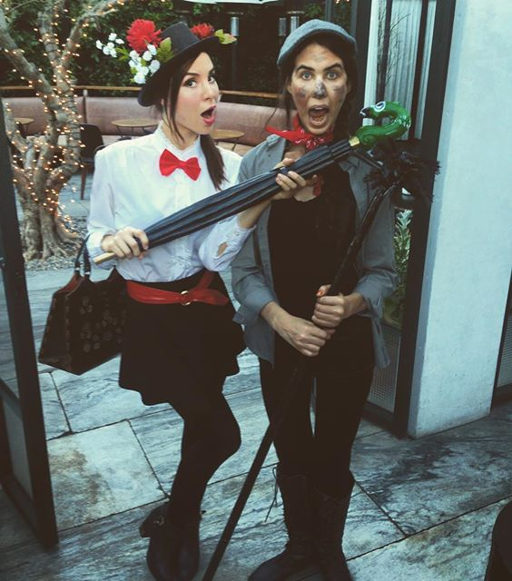Kacey Barnfield and friend out for Halloween 2015