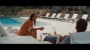 Kacey Clarke lighting a cigarette with Ben Lamb